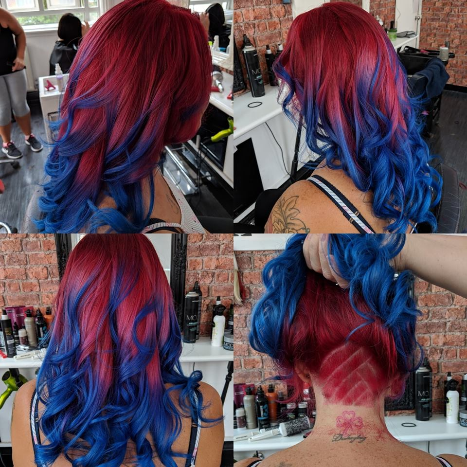 Red, Purple and Blue Hair